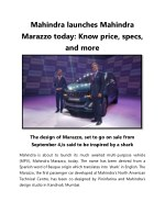 Mahindra Launches Mahindra Marazzo Today Know Price, Specs, And More