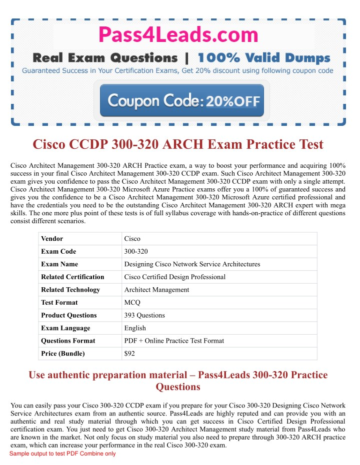 Ppt Cisco 300 320 Arch Exam Pdf Questions Powerpoint Presentation