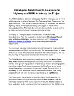 Choutuppal-Kandi Road to be a National Highway and NHAI to take up the Project