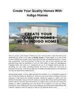 Create Your Quality Homes With Indigo Homes