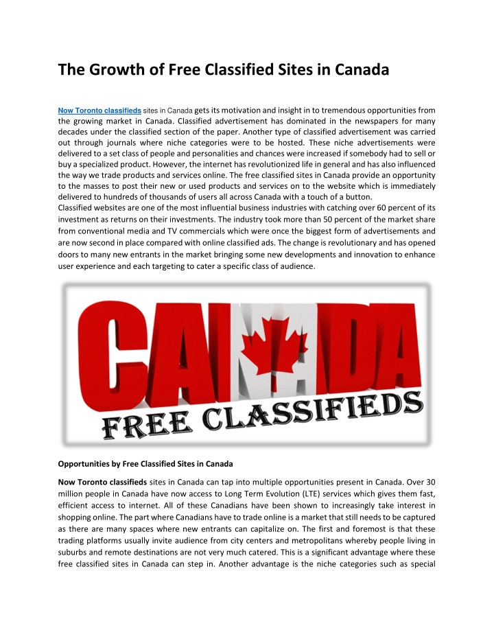 PPT - The Growth of Free Classified Sites in Canada