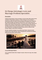 Sri Durga Astrologer-Love and Marriage Problem Specialist.