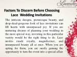 Factors To Discern Before Choosing Lace Wedding Invitations