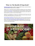 What Are Benefits Of Superfoods