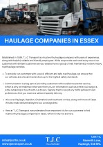 Haulage companies in Essex - TJC Transport