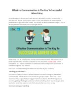 Effective Communication Is The Key To Successful Advertising