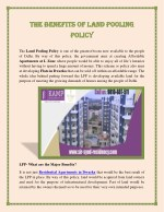 The Benefits of Land Pooling Policy