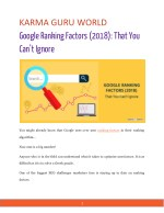 Google Ranking Factors (2018): That You Can't Ignore