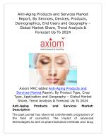 Global Anti-Aging Products and Services Market Competition, Segmentations and Opportunities 2018: BY Axiom MRC
