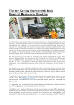 Tips for Getting Started with Junk Removal Business in Brooklyn