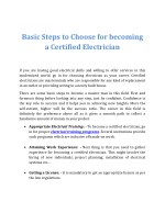 Basic Steps to Choose for becoming a Certified Electrician
