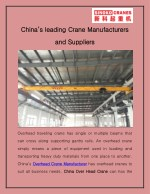 China's Leading Crane Manufacturers And Suppliers