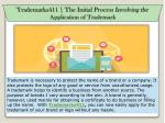 Trademarks411   The initial process involving the application of trademark