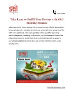 Take Loan to Fulfill Your Dream with SRG Housing Finance