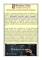 An Insurance and the Insurance Agency