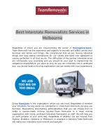 Removalist Services in Melbourne