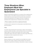 Three Situations When Employers Must Hire Employment Law Specialist in Queensland