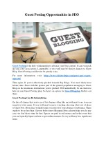 Guest Posting Opportunities in SEO