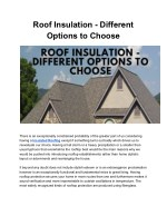 Many Option to select Roof Insulation
