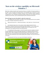 Turn on the wireless capability in Windows 7