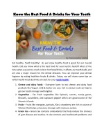 Know the Best Food & Drinks for Your Teeth