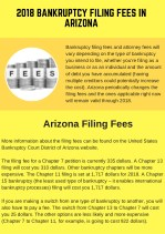 2018 Bankruptcy Filing Fees in Arizona