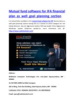 Mutual fund software for IFA financial plan as well goal planning section