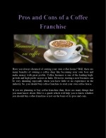 Pros and Cons of a Coffee Franchise