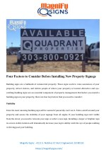 Four Factors To Consider Before Installing New Property Signage