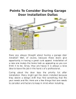 Points To Consider During Garage Door Installation Dallas