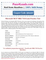 Microsoft MB2-718 Exam Practice Questions - 2018 Updated