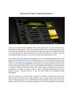 Internet And Sports Gambling Systems