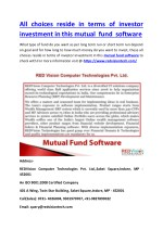 All choices reside in terms of investor investment in this mutual fund software