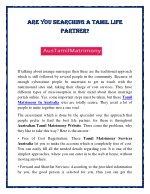 Are You Searching a Tamil Life Partner