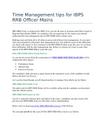 Time Management tips for IBPS RRB Officer Mains
