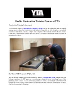 Quality Construction Training Courses at YTA