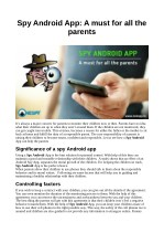 Spy Android App: A must for all the parents