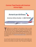 Common Travel Queries with American Airlines Flights