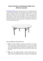 Choose the best round banquet tables from different materials