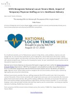 VISTA Recognizes National Locum Tenens Week, Impact of Temporary Physician Staffing on U.S. Healthcare Delivery