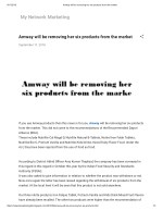 Amway will be removing her six products from the market