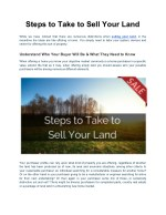 Steps to Take to Sell Your Land