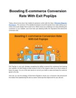 Boosting E-commerce Conversion Rate With Exit PopUps