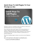 Quick Steps To Add Plugins To Your Wordpress Site