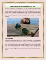 How Do Polarized Sunglasses Work For You ?