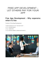 FREE APP DEVELOPMENT - LET OTHERS PAY FOR YOUR APP