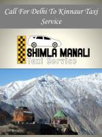 Call For Delhi To Kinnaur Taxi Service