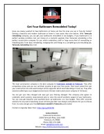 Get Your Bathroom Remodeled Today!