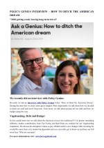 POLICY GENIUS INTERVIEW – HOW TO DITCH THE AMERICAN DREAM
