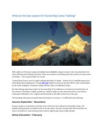 What are the best seasons for Everest Base Camp Trekking?